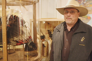 Doran Degenstein looks at therefurbished exhibits at Fort Whoop Up. Photo by Richard Amery