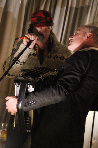 Corb Lund stopped by to sing with Geoff Berner at one of his shows this year. Photo by Richard Amery