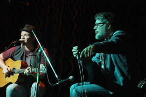 D Rangers'  banjo player/ vocalist Jaxon Haldane playing the saw with Gordie Tentrees. Photo by Richard Amery