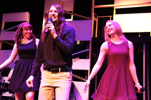 Kyle Gruninger performing with New West Theatre's Erica Hunt and Ashley Thomson. Photo by Richard Amery
