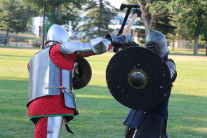 The Lethbridge Medieval Club practicing for last year's Windy Castle Medieval Faire. Photo by Richard Amery