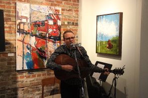 Joel Stretch performs at the opening of Mortar and Brick, Thursday, Sept. 27. Photo by Richard Amery