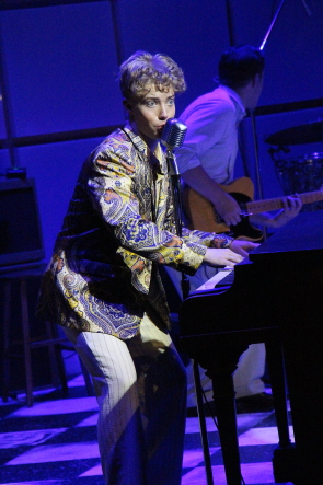 Hunter Semrau playing Jerry Lee Lewis in Million Dollar Quartet. Photo by Richard Amery