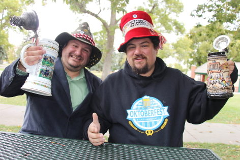 John and Roy Pogorzelski are excited to celebrate Oktoberfest, Sept. 29 and 30 in Galt Gardens with a toast.Photo by Richard Amery