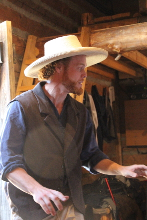 Nick Bohle performs in Trader Tales at fort Whoop Up throughout Augist. Photo by Richard Amery