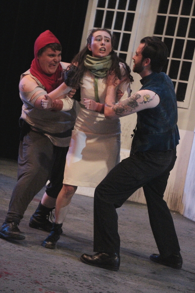 Cole Pryor,  Maya Green and Taran Duncan rehearse a scene from Titus Andronicus. Photo by Richard Amery